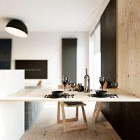 mieszkanie dla dwojga, wizualizacja salonu