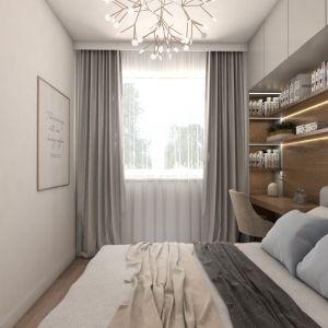 Sypialnię urządzono w beżach, jasnych szarościach i bieli. Projekt i zdjęcia: Pracownia Architektoniczna MGN