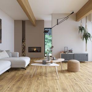 Organic Wood to kolekcja płyt gresowych inspirowanych drewnem; na zdj. wzór Huntwood beige. Fot. Cersanit