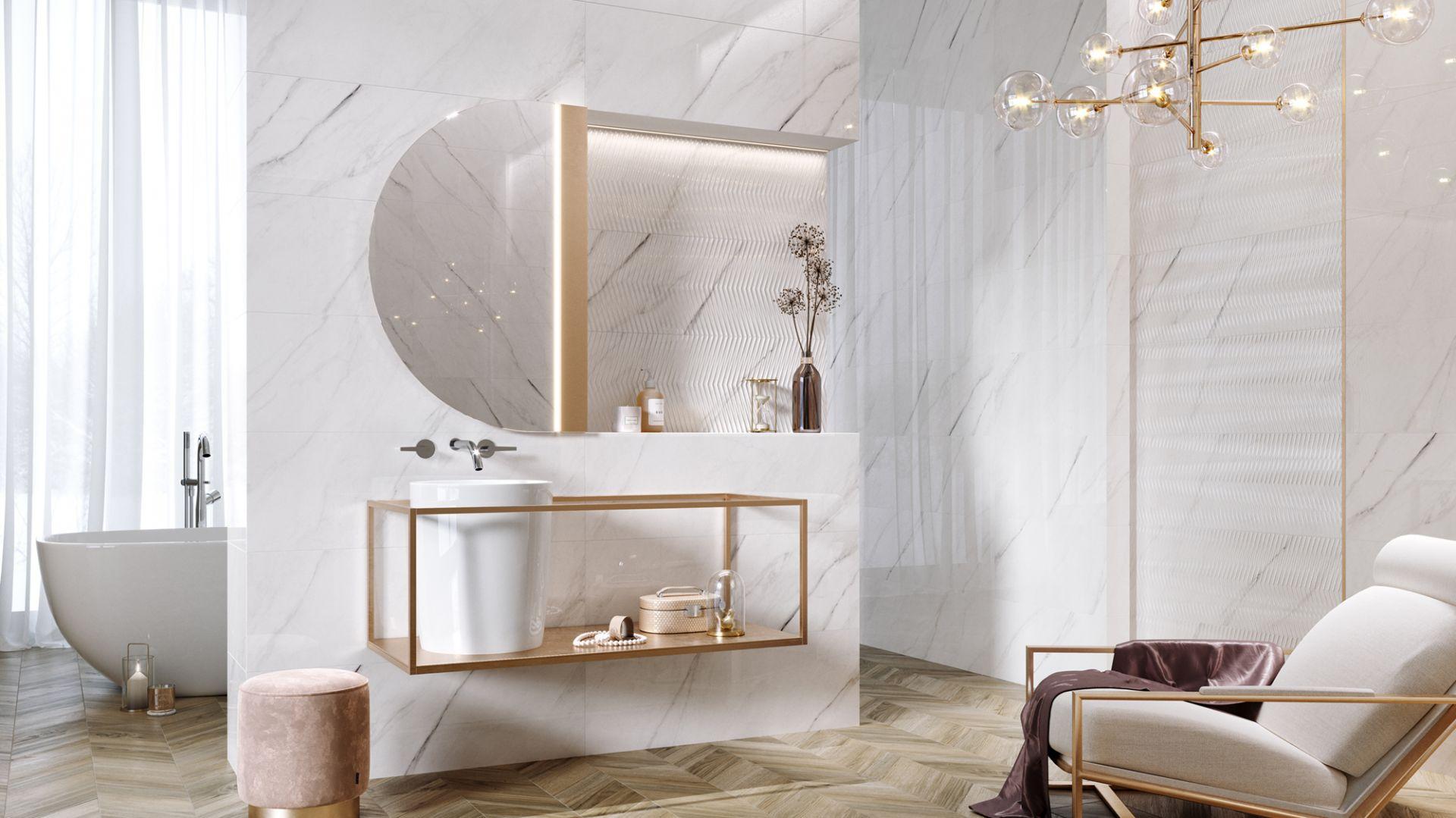 Kolekcja płytek Carrara Chick inspirowana klasycznym, białym marmurem. Fot. Opoczno