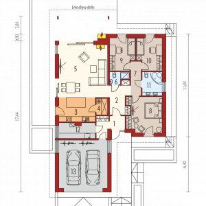 Parter 1. Wiatrołap 6.17 m² 2. Hol 7.87 m² 3. Kuchnia 11.71 m² 4. Spiżarnia 2.39 m² 5. Pokój dzienny 34.14 m² 6. Łazienka 2.60 m² 7. Korytarz 4.64 m² 8. Sypialnia 15.92 m² 9. Sypialnia 10.32 m² 10. Sypialnia 10.32 m² 11. Łazienka 6.23 m² 12. Kotłownia 7.12 m² 13. Garaż 30.92 m²