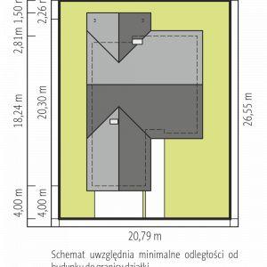 Usytuowanie domu na działce. Simon IV G2. Projekt: arch. Artur Wójciak. Fot. Pracownia Projektowa Archipelag
