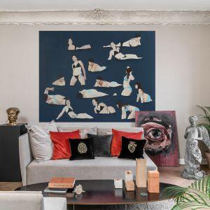 Kolekcja haftowanych poszewek Curiosities marki Maja Laptos Studio w otoczeniu dzieł sztuki zespołu Artystów ART IN Architecture. Fot. FotoMohito