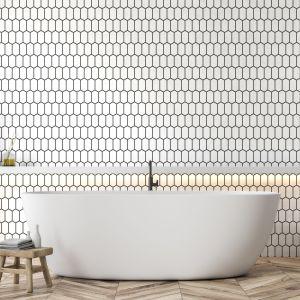 Płytki do łazienki. Mozaika Heksalong Biały. Fot. Raw Decor