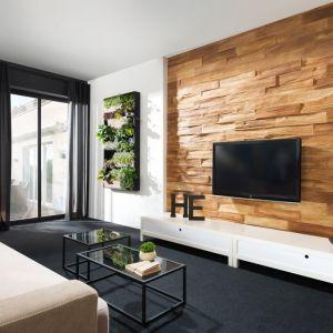 Subtelne sęki i charakterystyczna chropowatość kamienia dekoracyjnego Timber Wood odwzorowują naturę drewna. Fot. Stegu