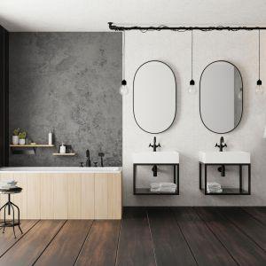 Baterie łazienkowe w czarnym wykończeniu z kolekcji Temisto w industrialnym stylu. Fot. Deante