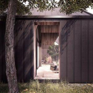 Strefa dzienna otwiera się na duży taras łączący dom z ogrodem. Fot. Galeco, Mateusz Niepokój
