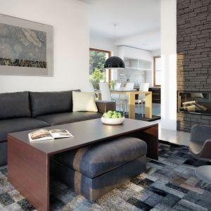 Białe ściany i sufity w salonie przełamano ciemnymi meblami. Dzięki temu wnętrze nabiera eleganckiego charakteru. Fot. Archipelag