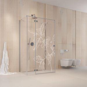 Grawer na szkle kabiny prysznicowej to bardzo efektowny sposób na rearanżację łazienki. Fot. Radaway