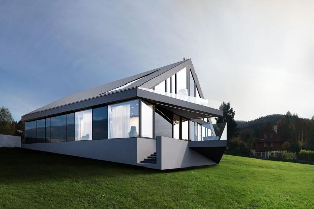Gdy klientem jest artystka, architektura projektowanego domu nie może być zwyczajna. Nietypowa bryła z geometrycznym, dwuspadowym dachem od razu przyciąga wzrok. W tym projekcie nie ma miejsca na przypadkowe rozwiązania.