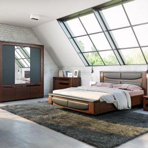 Łóżko z pięknym zagłówkiem z kolekcji Riva. Fot. Mebin