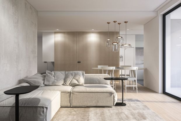 To wnętrze doskonale łączy minimalizm i ciepłe formy. Znajdziemy tu przytulne odcienie beżu i złamanej bieli, które pięknie łączą się w naturalnym drewnem.<br /><br /><br />