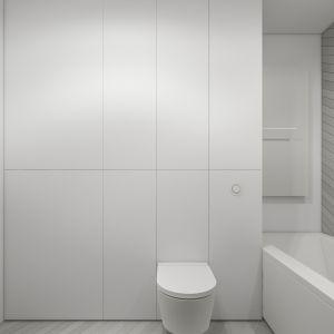 Minimalistyczne wnętrze: łazienka z wanną. Projekt i wizualizacje: Agnieszka Marciniak