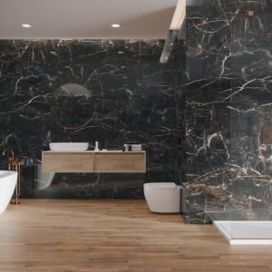 Ciemne kolory w łazience. To jest trendy! Fot. Cerrad
