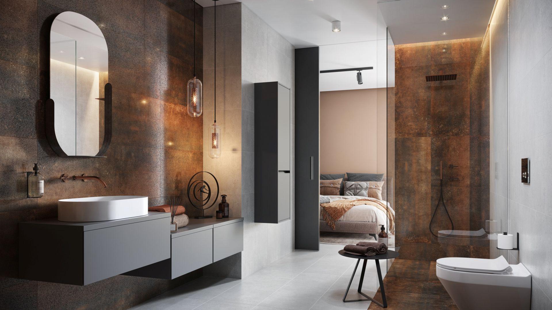 Ciemne kolory w łazience. To jest trendy! Fot. Cersanit