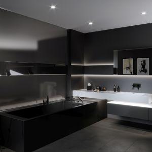 Ciemne kolory w łazience. To jest trendy! Fot. Ferro