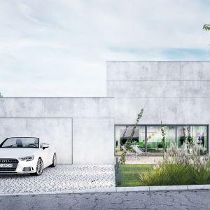 Projekt betonowego domu z płaskim dachem. Projekt: Magdalena Gierczak, Zbigniew Gierczak