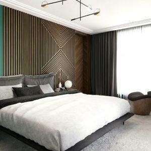 Pomysł na wykończenie ściany za łóżkiem w sypialni. Projekt i zdjęcia: Tissu Architecture