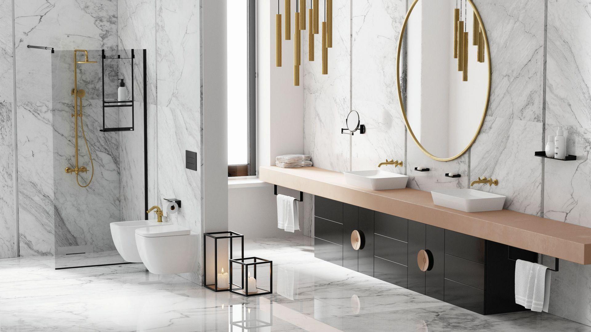 Baterie umywalkowe Teramiso Brass w pięknym, złotym kolorze. Podkreślą styl i elegancję w łazience urządzanej w każdym stylu. Dostępne w ofercie firmy Deant. Fot. Deante