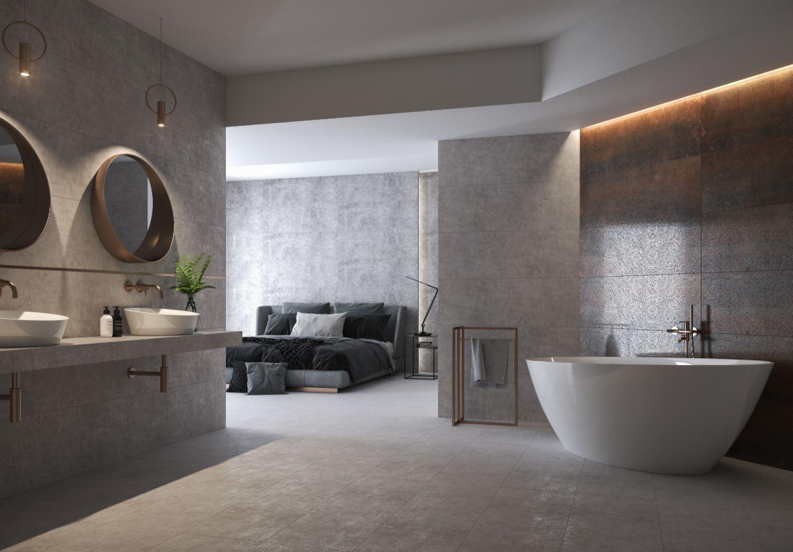 Kolekcja Divena pasuje zarówno do łazienki, jak i sypialni, a płytki położone w obu pomieszczeniach zapewnią im spójną całość. Fot. Cersanit