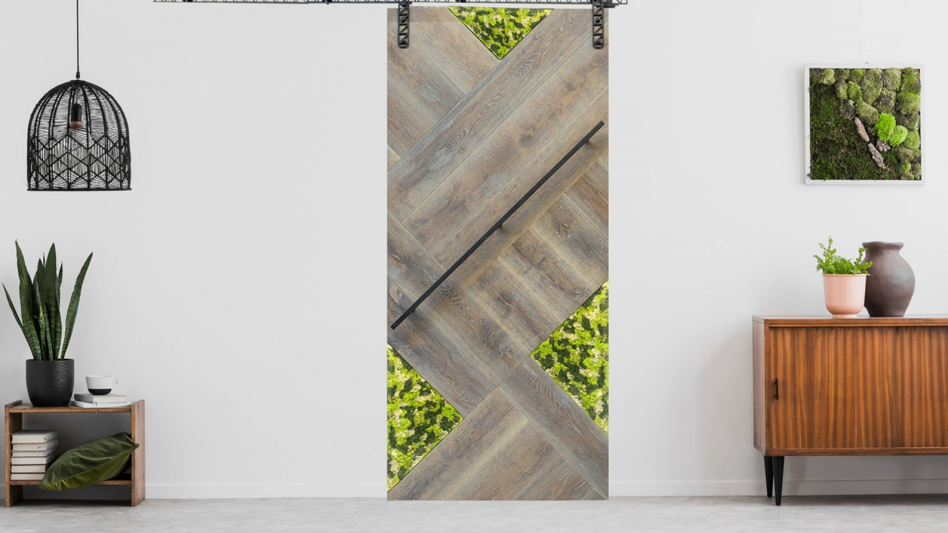 Drzwi przesuwne Nature, system Moss. Fot. Pinkstern