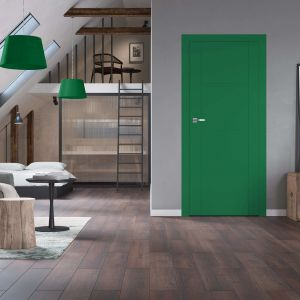 Drzwi Brenta można zamówić w jednym z modnych kolorów, nadając wnętrzu oryginalny charakter. Na zdjęciu kolor RAL-6032.Fot.RuckZuck.