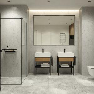 Kabina prysznicowa Arnika wyróżnia się przezroczystym szkłem i charakterystycznym matowo czarnym profilem. Fot. Deante