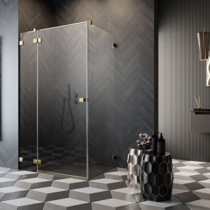 Seria Essenza Pro Gold z modnymi złotymi detalami zachwyca nowoczesnym designem, funkcjonalnością oraz przejrzystością konstrukcji. Fot. Radaway