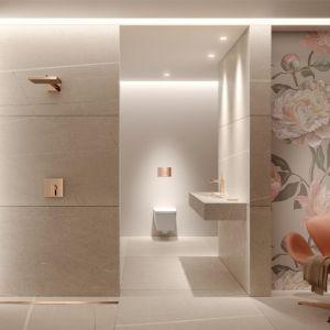 Nowoczesny romantyzm – odkrywamy nowe oblicze łazienki. Fot. Tece zzerwone złoto powłoki
