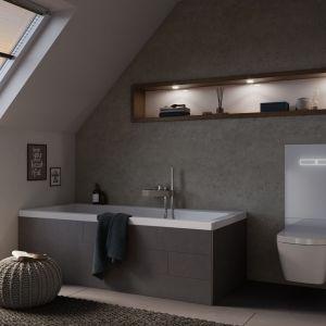 Terminal WC TECElux nie jest w pełni ukryty w ścianie. Widoczna pozostaje szklana obudowa w kolorze białym lub czarnym. Składa się z 3 części: modułu WC oraz dolnej i górnej szklanej osłony, która szczelnie zamyka otwór rewizyjny, maskuje spłuczkę i przyłącza. Tece