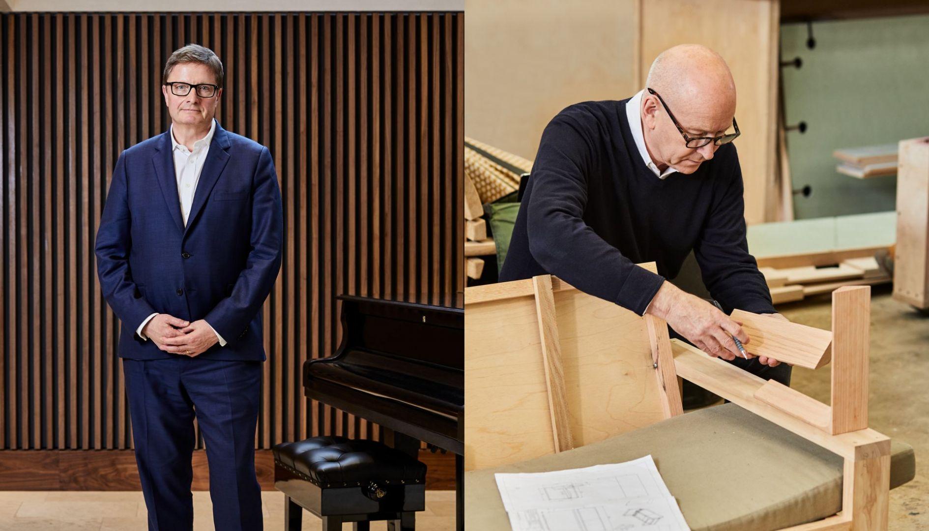 Minimalistyczne Duo – piękny zestaw kanap do gabinetu Alexa Bearda, dyrektora generalnego Royal Opera House w Londynie. projekt: Terence Woodgate