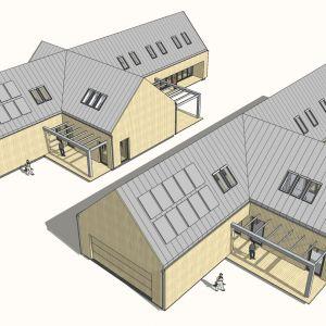 Rysunki przedstawiają dwie alternatywne rozwiązania dachu, ponieważ inwestorom zależało na możliwości wyjścia na zewnątrz z pomieszczenia sauny. Projekt: Joanna Ochota, Janusz Ochota