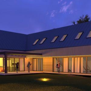 Inspiracją były tworzeniu projektu domu były formy zabudowań wiejskich, gdzie część mieszkalna łączyła się z zabudowaniami gospodarczymi.Projekt: Joanna Ochota, Janusz Ochota
