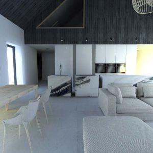 Salon i kuchnia stanowią też integralną całość jeśli chodzi o kolorystykę i materiały wykończeniowe. Projekt: Joanna Ochota, Janusz Ochota
