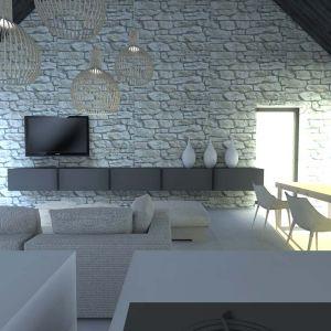 Na ścianie w salonie zaplanowano ułożenie kamienia. Projekt: Joanna Ochota, Janusz Ochota