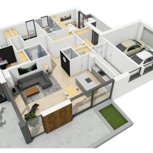 Projekt: Simon III G2 (pracownia projektowa Archipelag) - rzut domu 3d. Fot. Archipelag