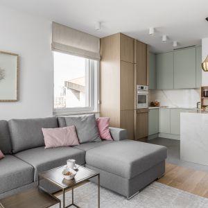Mały salon z kuchnią. 15 pomysłów na mieszkanie w bloku. Projekt Pracownia Wojsz