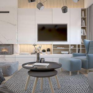 Salon. Projekt wnętrza domu dla czteroosobowej rodziny. Projekt: Katarzyna Czechowicz, Design Me Too