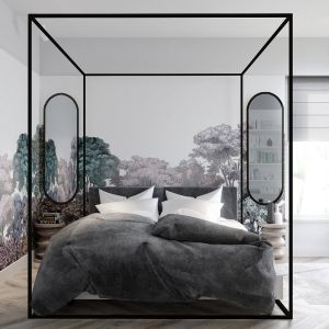 Ściana w sypialni: 10 pomysłów na tapetę za łóżkiem. Projekt Marcin Dekor x Loft Factory