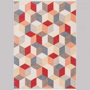 Luksusowy dywan Cube.45 z wielokolorowej przędzy wełnianej ozdobiony geometrycznym wzorem; rożne wymiary. Fot.  Ligne Pure