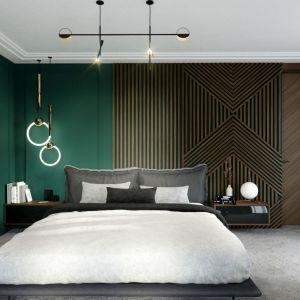 Pomysł na wykończenie ściany za łóżkiem w sypialni w ciemnym kolorze. Projekt i zdjęcia: Magdalena Kostrzewa-Świątek i Agnieszka Zaremba. TISSU Architecture