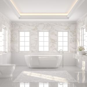 Aranżacja łazienki z marmurem Calacatta