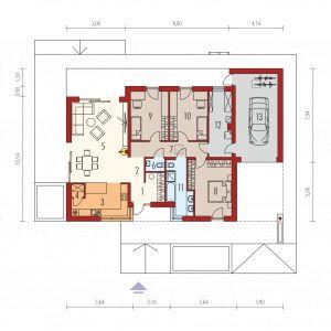 Nazwa projektu: Mini 4 G1 Modern/pracownia Archipelag. Rzut domu