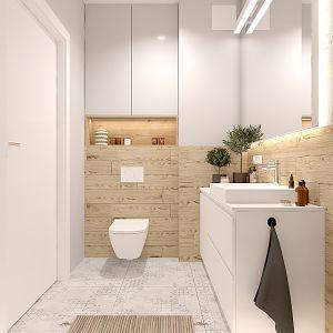 Łazienka w jasnych kolorach. Projekt wnętrza: Katarzyna Czechowicz, Design Me Too