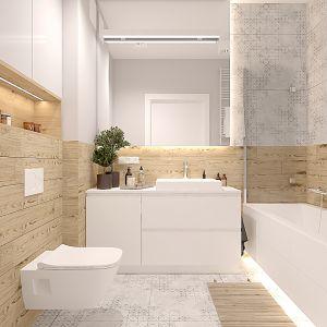 Szara łazienka z elementami drewna. Projekt wnętrza: Katarzyna Czechowicz, Design Me Too
