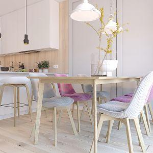 Jadalnia z dużym stołem i tapicerowanymi krzesłami. Projekt wnętrza: Katarzyna Czechowicz, Design Me Too