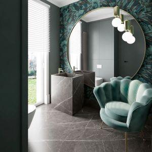 Okrągłe lustra, dekory odwzorowujące marmur, roślinne wzory na ścianie - modne elementy wnętrza. Mat. pras. Anna Koszela