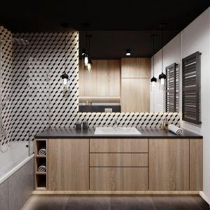 Płytki w geometryczne wzory to gres Keros Barcelona Cube (95 zł/m2, Terradeco). Projekt Justyna Krupka, studio projektowe Przestrzenie