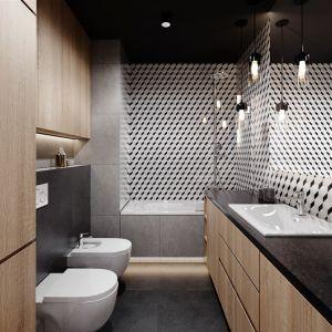 W łazience zastosowano płytki gresowe w jasnym i ciemnym kolorze. (Ceramika Paradyż, kolekcja Chromatic, 60 zł/ m2). Projekt Justyna Krupka, studio projektowe PrzestrzenieProjekt Justyna Krupka, studio projektowe Przestrzenie