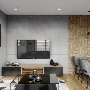 Na ścianie w salonie: płyty elewacyjno-dekoracyjne w stylu surowego betonu, 85 zł za płytę 100x50 cm/Sol Tech Design oraz drewnopodobne płytki Tangram Wood Oak od Carrea, ok. 95 zł/m2. Projekt Justyna Krupka, studio projektowe Przestrzenie